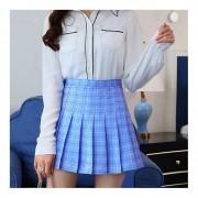 EY Womens Moda Cintura Alta Falda Plisada Slim Skater Escuela De Tenis-Azul Cielo