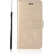 Shop4 - Xiaomi Mi A2 Lite Hoesje - Wallet Case Dromenvanger Uil Goud