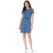 Kenneth Cole New York Knotted Front Dress Rep Horizontal Stripe Ink