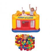 INTEX Inflatable Ball Jump-O-Lene Pit Playhouse Bouncer House w/ 100 Play Balls