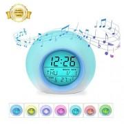 Fullyy Reloj Despertador Digital para niños, con 7 Colores cambiantes, para enseñar a Las niñas y niños a Despertar, con Calendario de Temperatura Interior, Control táctil y función de repetición