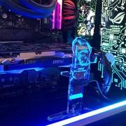 Yosy Personalized LED Standing Graphics Card Holder Soporte GPU Brace Soporte GPU decorativo para tarjetas de video acrílico universal personalizable Soporte GPU para NVIDIA MSI Gigabyte ( MSI GAMING SERIVES / Azul)