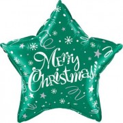 Qualatex Merry Christmas! Festive Green Foil Star 20in/50cm