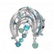 JN クリスタルガラス ブルーグラデーション ブローチ【QVC】40代・50代レディースファッション