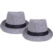 Tahiro Grey Cotton Fedora Hat - Pack Of 2