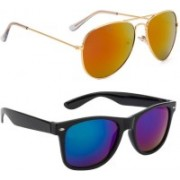 SRPM Aviator, Wayfarer Sunglasses(Blue, Red)