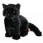Geen Pluche zittende knuffel kat zwart 20 cm