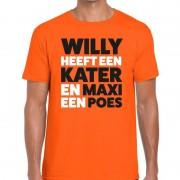 Bellatio Decorations Oranje Koningsdag Maxi heeft een poes t-shirt heren
