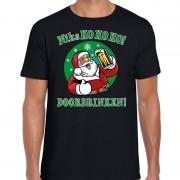 Bellatio Decorations Fout Kerst shirt bier drinkende santa ho ho ho zwart voor heren