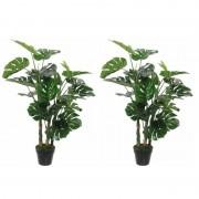 Mica Decorations 2x Groene Monstera/gatenplant kunstplanten 100 cm met zwarte pot