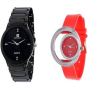 IIK Collction Black Men and Golry Moon Red Couple Watches for Men and Women