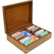 Дървена кутия Radica с 200 покер чипа без номинали
