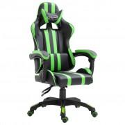 vidaXL Геймърски стол, зелен, полиуретан