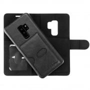 Prodigee Wallegee Case - кожен калъф, тип портфейл с отделящ се кейс и поставка за Samsung Galaxy S9 Plus (черен)