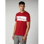 Ben Sherman Script Sports Cut and Sew Branded T-Shirt Sml Ruby