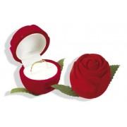 Piros színű, rózsa fej alakú ékszertartó doboz