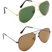 TheWhoop Combo UV Protected New Stylish Aviator Green And Brown Unisex Sunglasses For Men Women Girls Boys