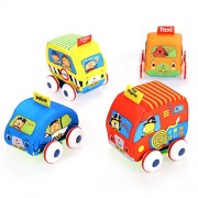 Soft Cute Baby Educational Toys DIY 4pcs Mini Pull-Back Autos Cartoon Vehicle Friction Powered Cars Set for Children/Boys/Girls/Kids Gift