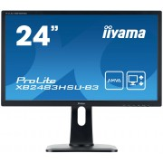 iiyama 24' 1920x1080, 4ms, AMVA panel, 13cm Height Adj. Stand, Pivot, 250cd/m², >80mln:1 ACR, VGA, DisplayPort, HDMI, USB-HUB, Speakers, TCO (23,8'VIS)