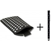 Polka Dot Hoesje voor Huawei Ascend Y210 met gratis Polka Dot Stylus, Zwart, merk i12Cover