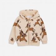 Mini Rodini donkey aop zip hoodie Beige