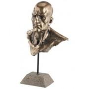 Carlo Milano Statuette décorative en résine aspect bronze - Buste d'homme