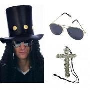 Blue Planet Online Slash Heavy Metal Rocker Hat with Wig, Sunglasses & Cross Necklace Fancy Dress