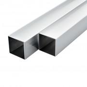 vidaXL 6 бр алуминиеви кухи тръби, квадратни, 2 м, 40x40x2 мм