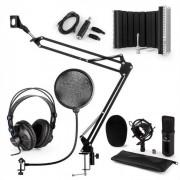 Auna CM001B Set de micrófono V5 Auriculares Condensador Brazo Filtro anti-pop Pantalla Negro (60002043-V5KO&KH)