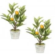 Bellatio flowers & plants 2x Citroenbomen/citrusbomen kunstplanten 45 cm in betonnen plantenpot - Kunstplanten