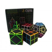 EasyGame Speed Cube Puzzle Pack   2X2 3X3 Skewb Pyraminx Cube, Megaminx Firbe Carbon Stickerless Set 5 Pieces Magic Cubes Collection Toys Brain Teaser Gifts