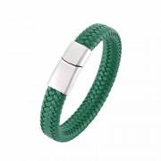 Premium green – mágneses bőr karkötő