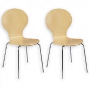 IDIMEX Lot de 2 chaises empilables MAUI, bouleau