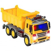 Best Choice Products Friction Powered Push And Go Toy Dump Truck Construction Vehicle W/ Lights And Sounds