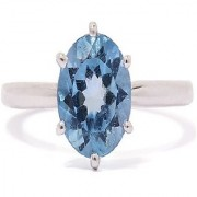Natural StoneTopaz Ring Original & Effective Stone Blue Topaz Gold Plated Ring By Jaipur Gemstone