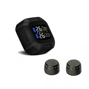 Wireless Motorcycle Tire Pressure Monitoring System,Malcam Universial Waterproof TPMS LCD Display with 2pcs External Sensors