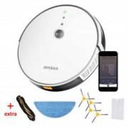 Pachet Robot aspirare amXea E30 Alb Wi Fi app navigare giroscopica multisuprafete curatare umeda si uscata cu extra set de accesorii