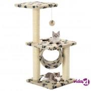 vidaXL Penjalica za mačke sa stupovima za grebanje od sisala 65 cm bež s uzorkom šapa