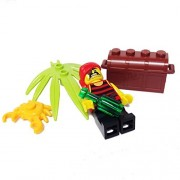 "MinifigurePacks: Lego® Pirates Bundle ""(1) PLUNDERING PETE FIGURE"" ""(1) BOTTLE"" ""(1) TREASURE CHEST"" ""(1) CRAB"" ""(1) PALM SWORDLEAF"""