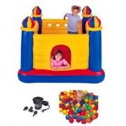 Intex Inflatable Jump O Lene Ball Pit Castle Bouncer W/ Air Pump & Plastic Balls