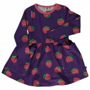 Smafolk - Kid's Dress with Strawberries - Robe taille 7-8 Years, violet