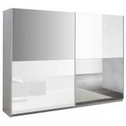IB Living Kledingkast Kenzo 263 cm breed - Hoogglans wit met spiegel