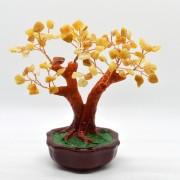 Copac in ghiveci cu pietre de calcit galben - 16cm