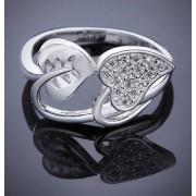 Inel elegant, din argint, model cu frunze si cristale