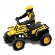 Maisto Racing (Yellow Striped) * Off-Road Series Motorized ATV * 2010 Maisto ATVs Fresh Metal Pull-Back Motor Die-Cast Vehicle