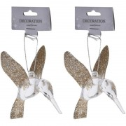 Bellatio Decorations 2x Kerstboom decoratie vogeltjes kolibri 7 cm goud