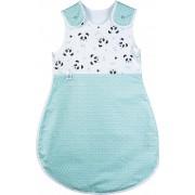 Sac de dormit bebe pentru iarna 0-6 luni, 100 bumbac, model Green Pandas