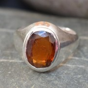 6 Ct Natural Bold Hessonite Sterling Silver Ring for Men CH281