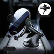 JOYROOM 15W Wireless Fast Charging Car Charger Automatic Clamping Car Air Vent Phone Holder - Black