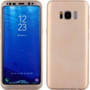 Husa FullBody Silicon MyStyle Gold pentru Samsung Galaxy S8 acoperire completa 360 grade cu folie de protectie gratis